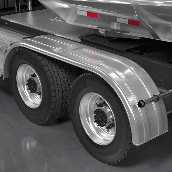 Minimizer 9020 Series Poly Super Single Truck Tandem Fenders Liquid Platinum On Truck