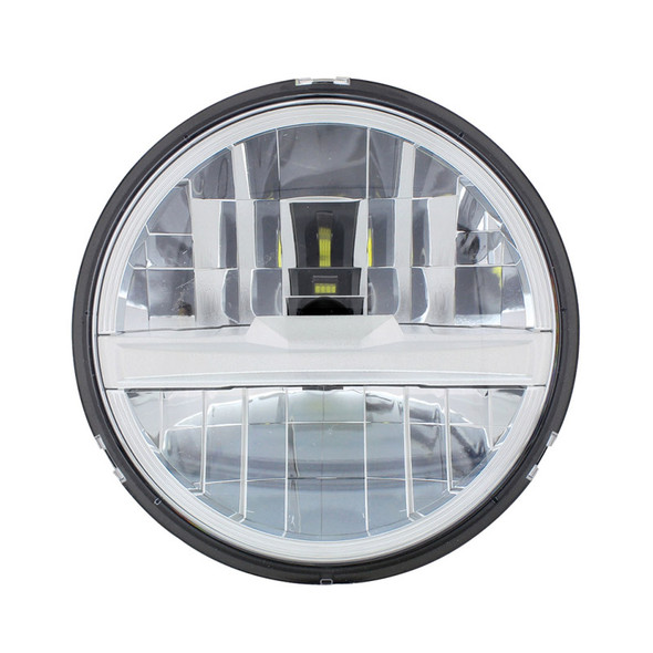 """5 3/4"""" Round Silver LED Headlight With 8 High Power LEDs"""