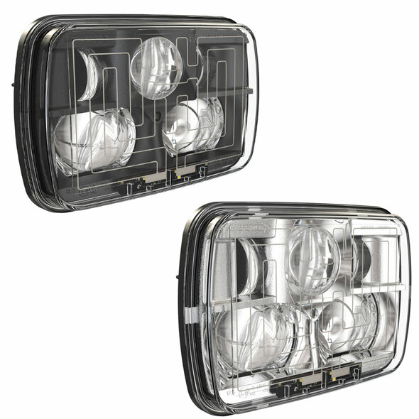 """5"""" x 7"""" Black And Chrome High And Low Beam Headlight"""