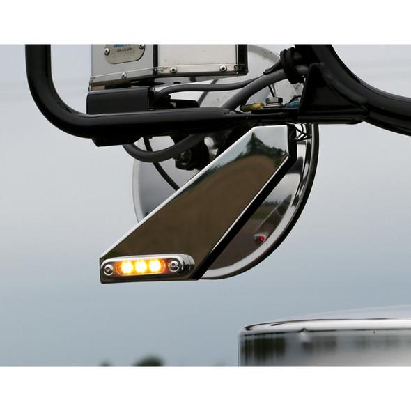 Peterbilt Freightliner Side Mirror Signal Bracket With Amber LEDs