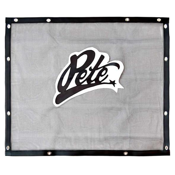 Peterbilt 379 Long Hood Black Bug Screen With Black Pete Logo Front View