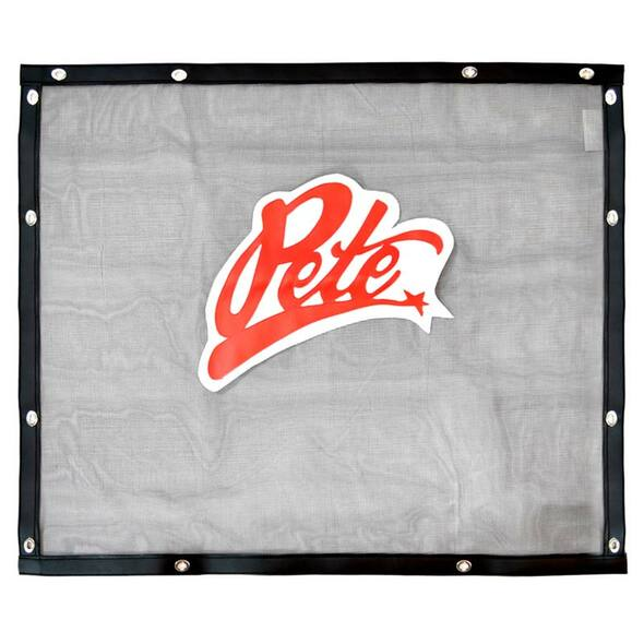 Peterbilt 379 Long Hood Black Bug Screen With Red Pete Logo Front View