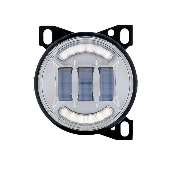 Round LED Fog Light Chrome Front