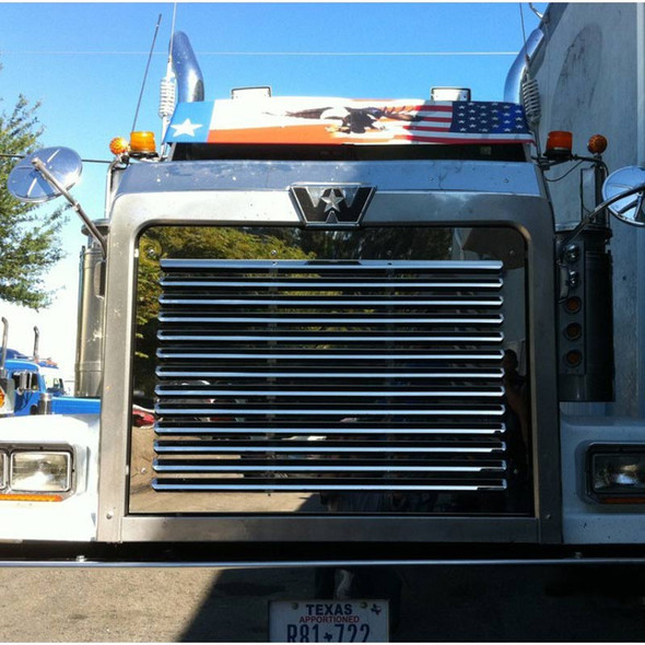 Western Star Constellation 4900 Series Louvered SS Grill Insert Front View