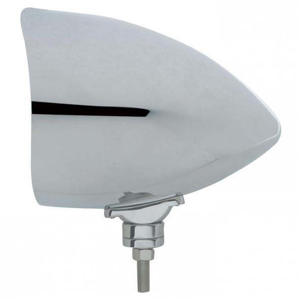 Chrome CHOPPER Headlight Housing With Smooth Visor Side View