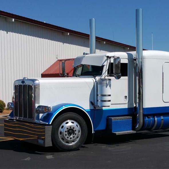 "Peterbilt 389 DPF 7"" Lincoln Exhaust Stack Kit On Truck"