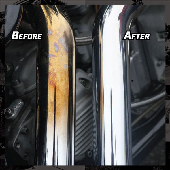 Rebel Pipe Dream Chrome Conditioner And Polish Before And After
