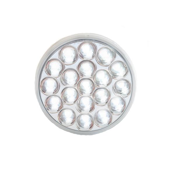 "4"" Chrome Round White Reflective Back-Up Light On"