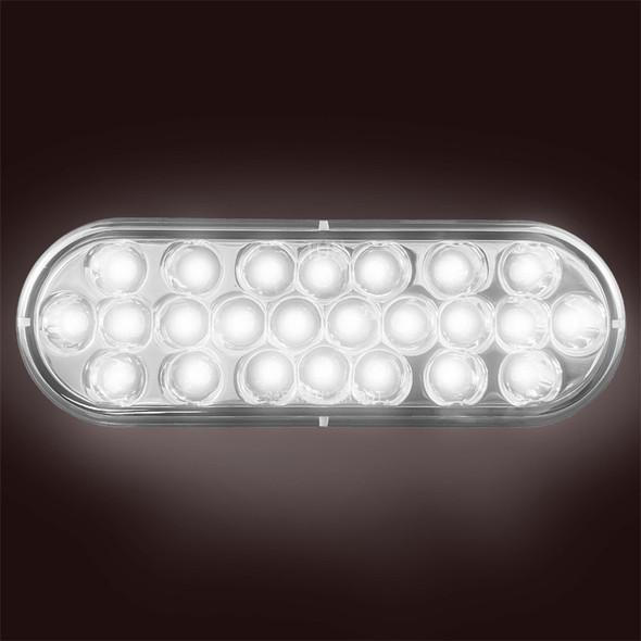"""6"""" Chrome Oval White Reflective Back-Up Light (On)"""