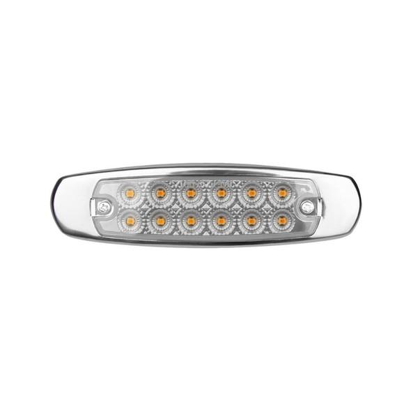 12 LED Marker Amber Light W/SS Flange Clear