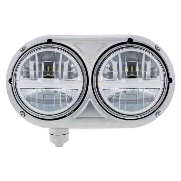 """5 3/4"""" Peterbilt 359 Silver Style Stainless Dual Round LED Headlight LH"""