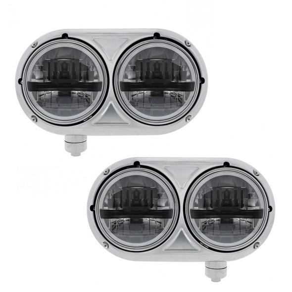 "5 3/4"" Peterbilt 359 Style Stainless 8 LED Dual Black Round Headlight Both"