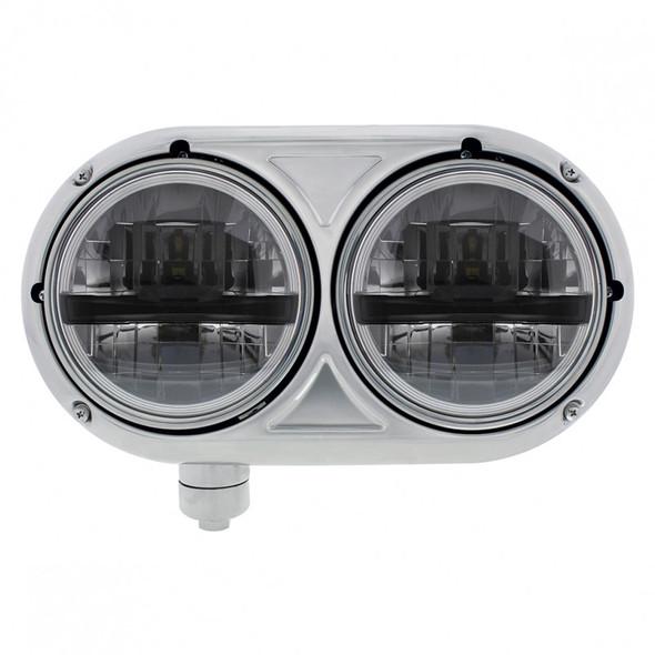"5 3/4"" Peterbilt 359 Style Stainless 8 LED Dual Black Round Headlight Driver"