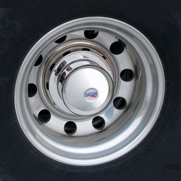 """22.5"""" Stainless Steel Cover-Up Hub Covers Front"""