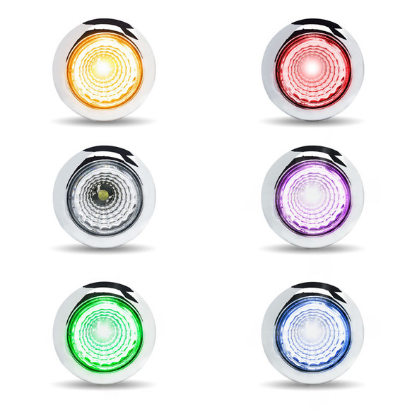 """Twist On 3/4"""" Dual Revolution Round LEDs With Reflector All Colors"""