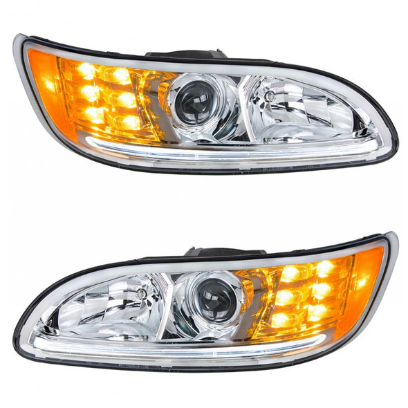Projector Headlights With Amber LED Marker Light & Dual Function LED Glow Light - White LED On
