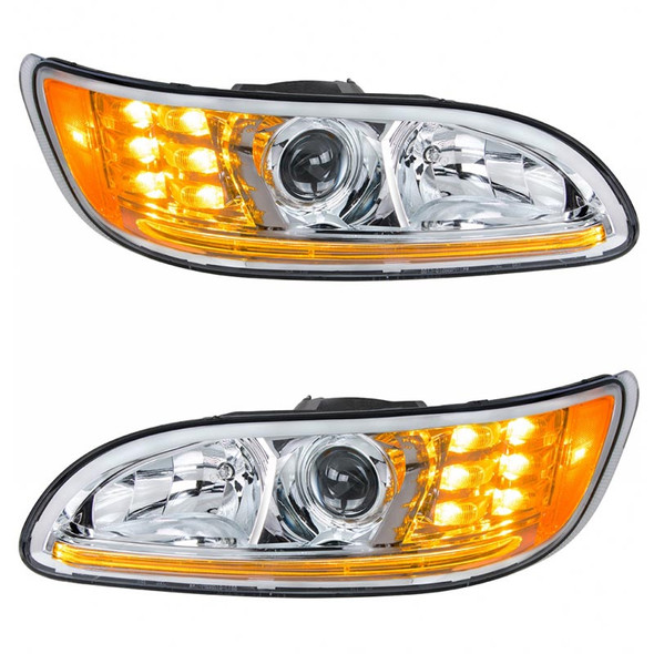Projector Headlights With Amber LED Marker Light & Dual Function LED Glow Light - Amber LED On