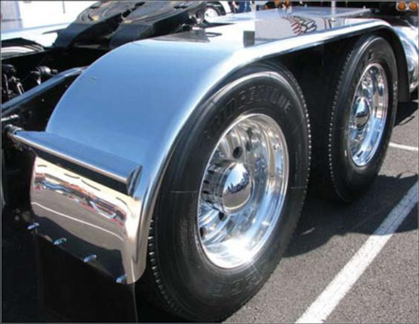 """120"""" Tandem Axle Full Fender Stainless Steel With Rolled Edge"""