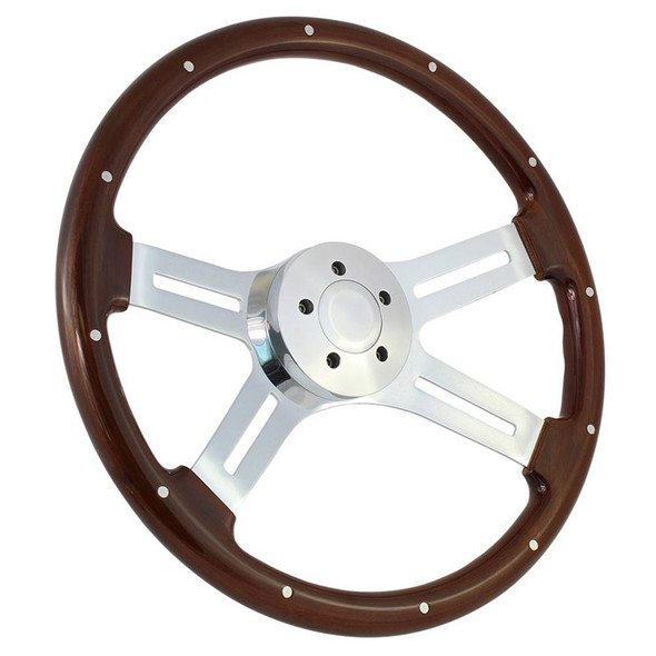 """Highway Wheels 18"""" Steering Wheel With Chrome Dual Classic Spokes And Dark Wood Finish - 5 Hole Horn Button"""