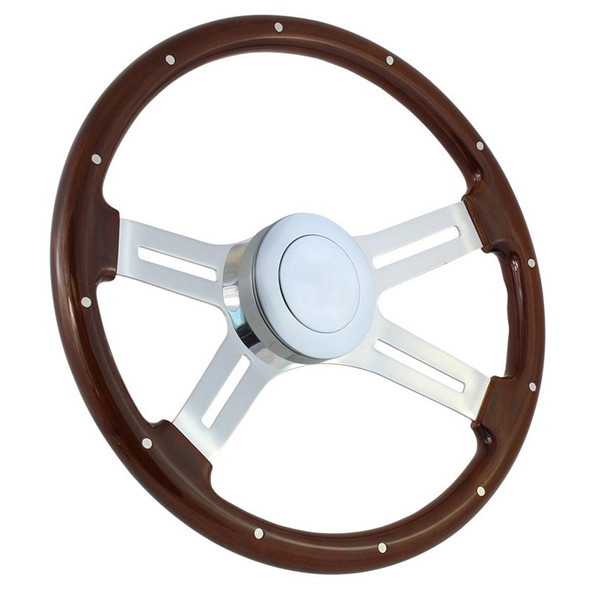 """Highway Wheels 18"""" Steering Wheel With Chrome Dual Classic Spokes And Dark Wood Finish - Smooth Horn Button"""