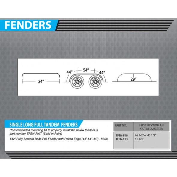 """142"""" Semi Truck Full Fender BOSS Style Stainless Steel Dimensions"""
