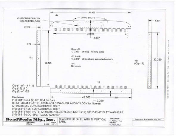 Freightliner Classic / FLD 120 Grill W/17 Vertical Bars 1990 & Up 25997 Diagram