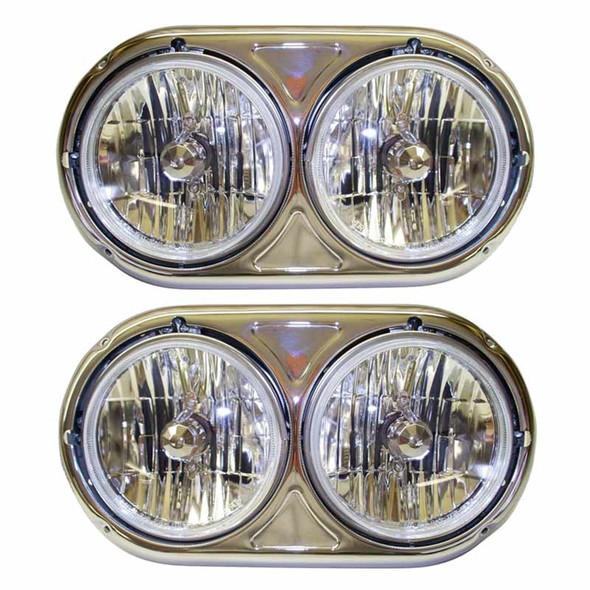 Kenworth W900A Dual Round Headlight Assembly Set