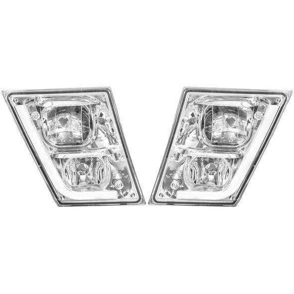Volvo VN VNL Chrome Fog Light With LED Daytime Running Light