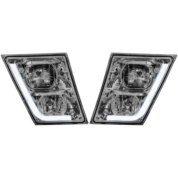 Volvo VN VNL Chrome Fog Light With LED Daytime Running Light Fog Lights Off