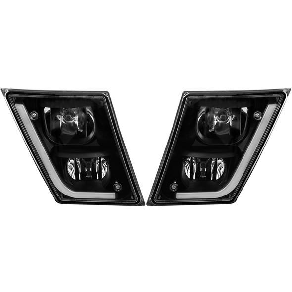 Volvo VN VNL Black Matte Fog Light With LED Off