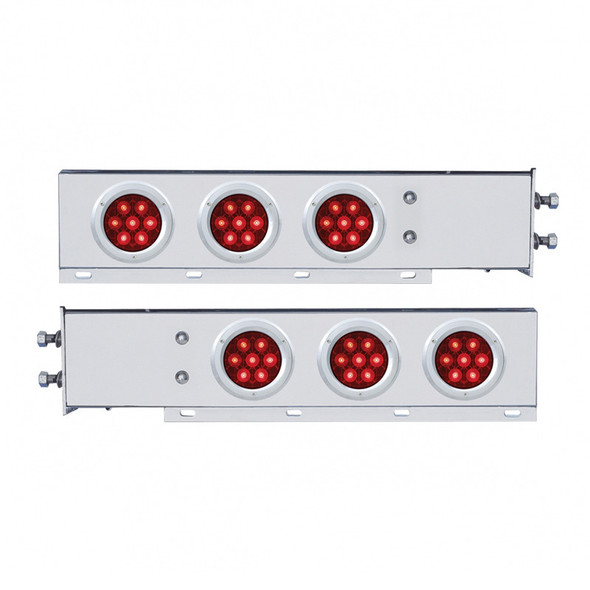 """Competition Series Mud Flap Hanger With 6 4"""" Round LED Lights - Red Lens On"""