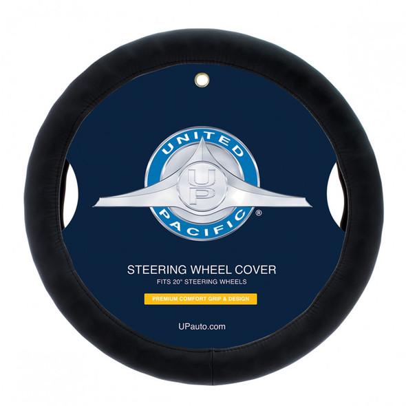 "Universal 20"" Black Leather Steering Wheel Cover"