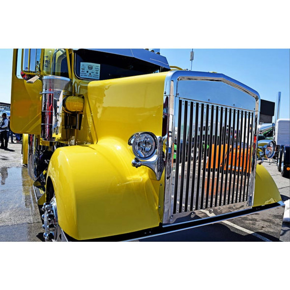 Kenworth W900L Replacement Grill Vertical Bars Extended Hood