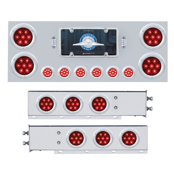 Competition Series Rear Center Panel and Mud Flap Set - Red LEDs/Red Lens Lights On