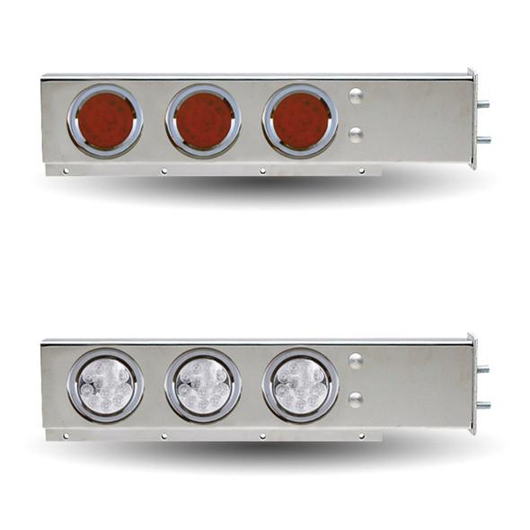 "Flat Top Mud Flap Hanger 1/2"" Bolt spacing & 4"" LEDs Red & Clear Lens"