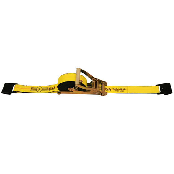 """2"""" x 27' Self Contained Ratchet Tie Down Strap Assembly Flat Hooks"""