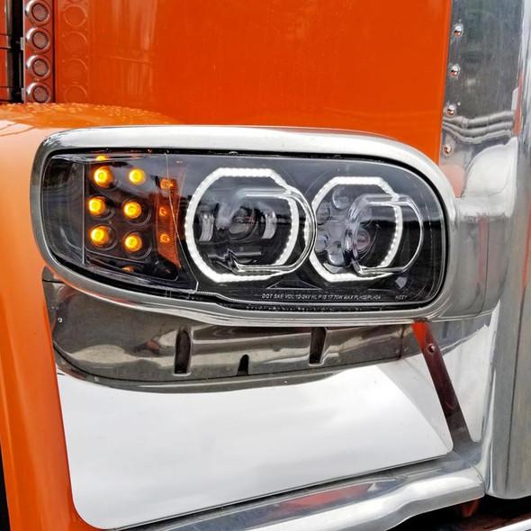 Peterbilt 388 389 367 567 Full Black LED Aftermarket Projector Headlight Close Up Off