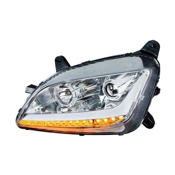 Peterbilt 579 587 Chrome Aftermarket Projector Headlights - Turn Signals On