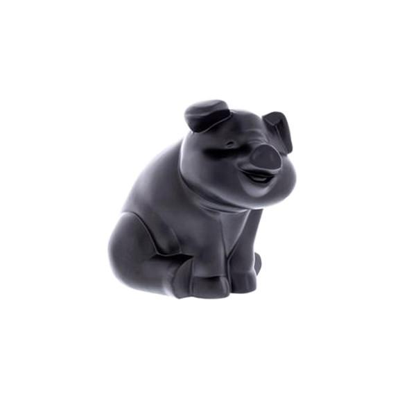 Matte Black Smiling Pig Truck Hood Ornament - Side 2