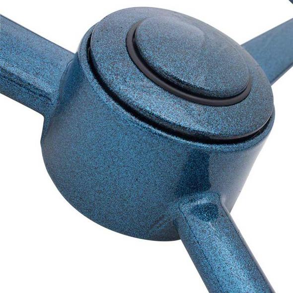"20"" Blue Retro Sparkle 3 Spoke Steering Wheel - Close Up"