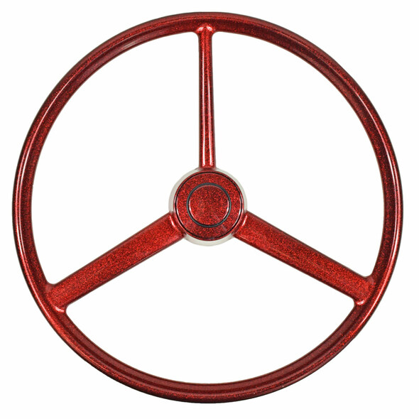 "20"" Red Retro Sparkle 3 Spoke Steering Wheel"
