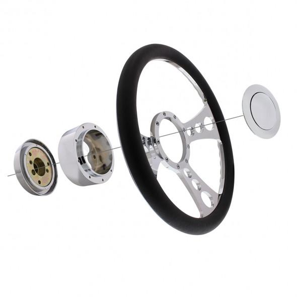 """14"""" Chrome Billet Aluminum Boss Style Steering Wheel Package"""
