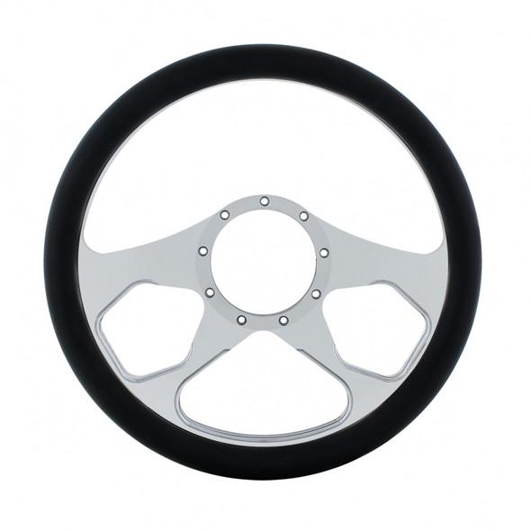 """14"""" Chrome Billet Aluminum Boss Style Steering Wheel"""