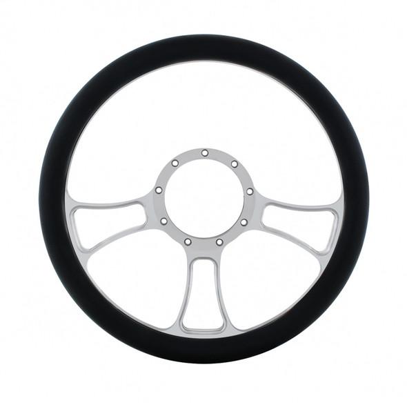"""14"""" Chrome Billet Aluminum Blade Style Steering Wheel"""