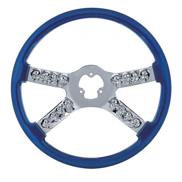 """18"""" Blue Chrome Skull Spoke Steering Wheel"""