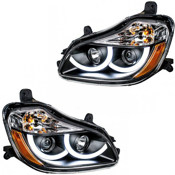 Kenworth T680 Blackout Projector Headlight Assembly LEDs On