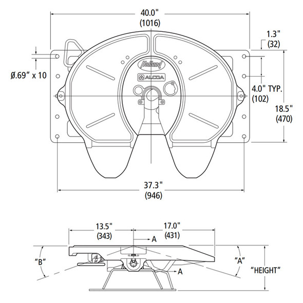 Holland FWAL Stationary Integrated Plate Mount Diagram