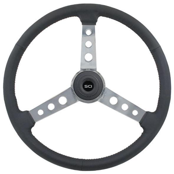 "Old School Black Leather 20"" 3 Chrome Spoke Steering Wheel"