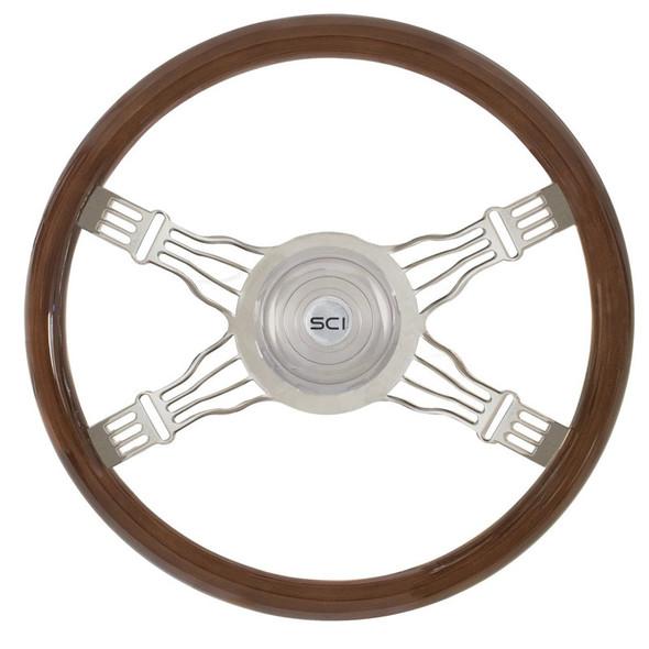 "Voltage 4 18"" Mahogany Steering Wheel 4 Chrome Wire Spoke"