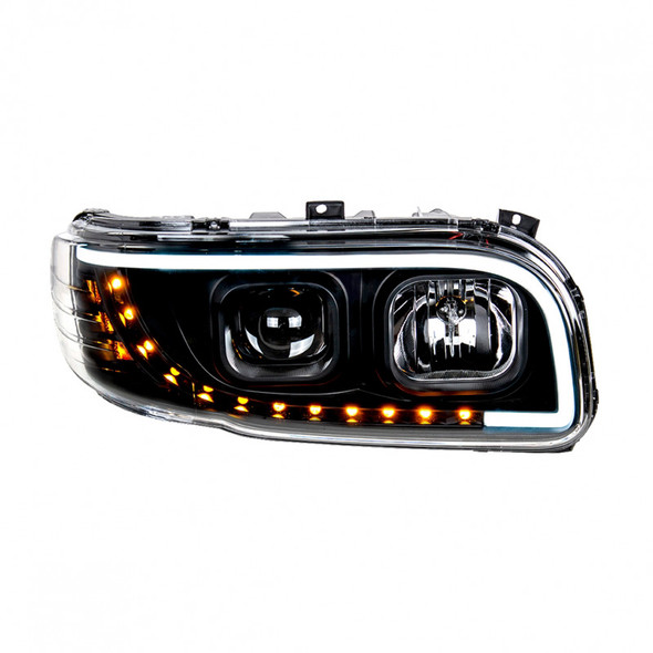Peterbilt 388 389 Aftermarket Blackout Projection Headlight with LED Bar Front On Passenger